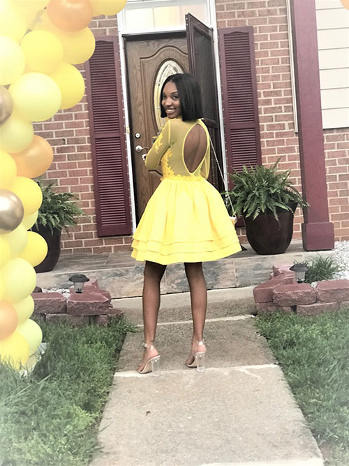 Short Yellow Prom Gown